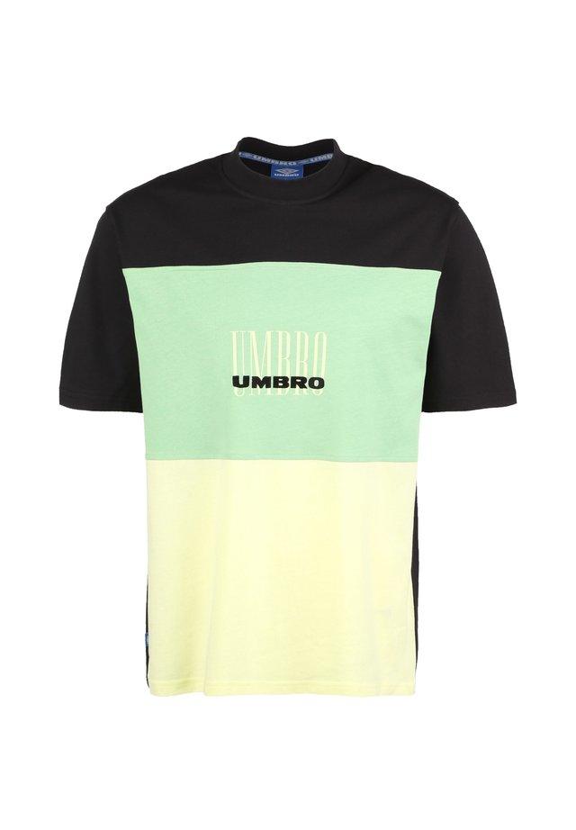 Print T-shirt - black / soft yellow / aqua mint