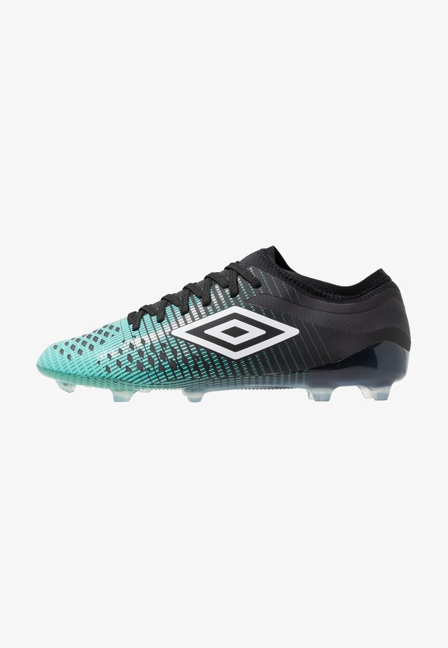 Moulded stud football boots - black/white/marine green