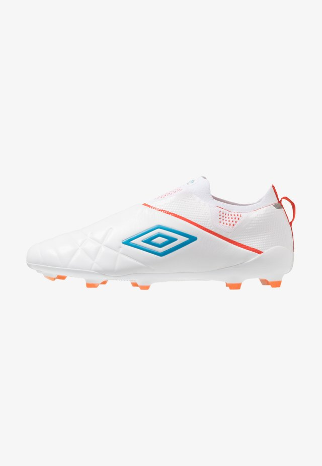 MEDUSÆ III ELITE FG - Moulded stud football boots - white/ibiza blue/cherry tomato