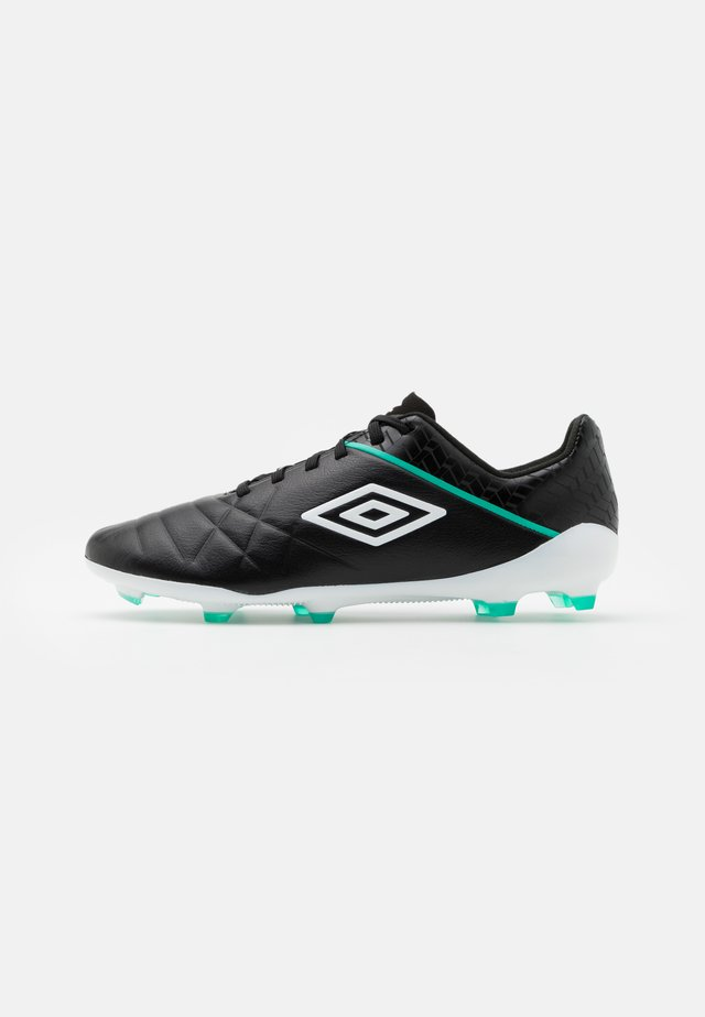 MEDUSÆ III PRO FG - Moulded stud football boots - black/white/marine green
