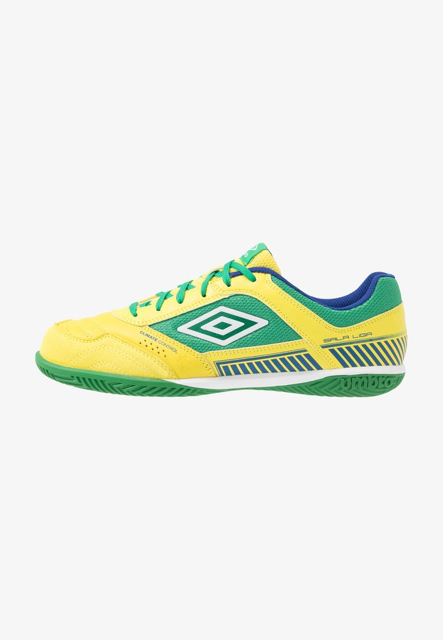 SALA II PRO - Halové fotbalové kopačky - golden kiwi/white/fern green/deep surf