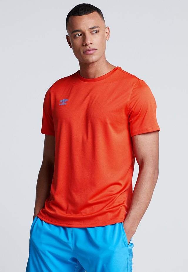 SILO TRAINING TEE - T-shirt print - cherry tomato/ibiza blue