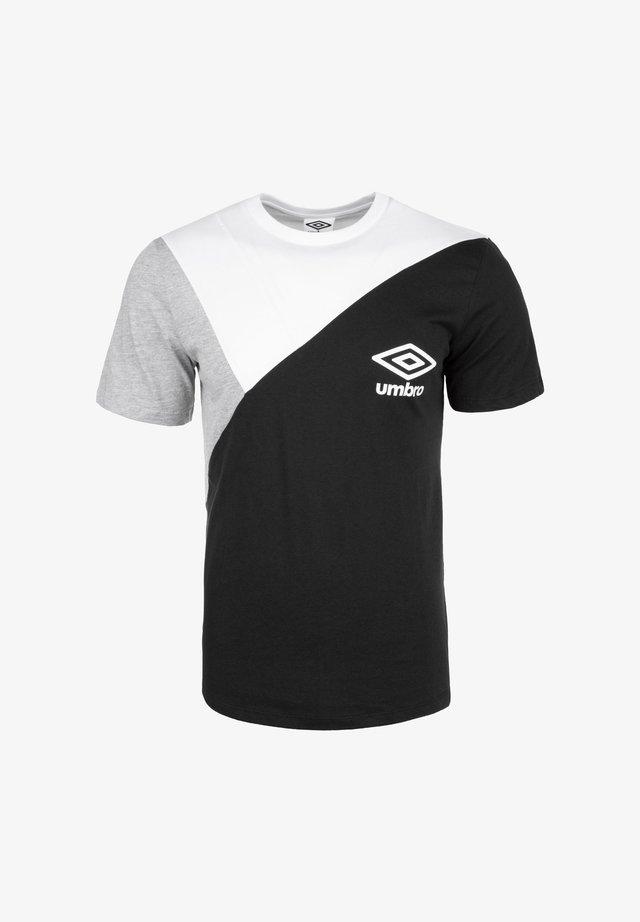 COLOURBLOCK TEE - T-shirt imprimé - black / brilliant white / grey marl