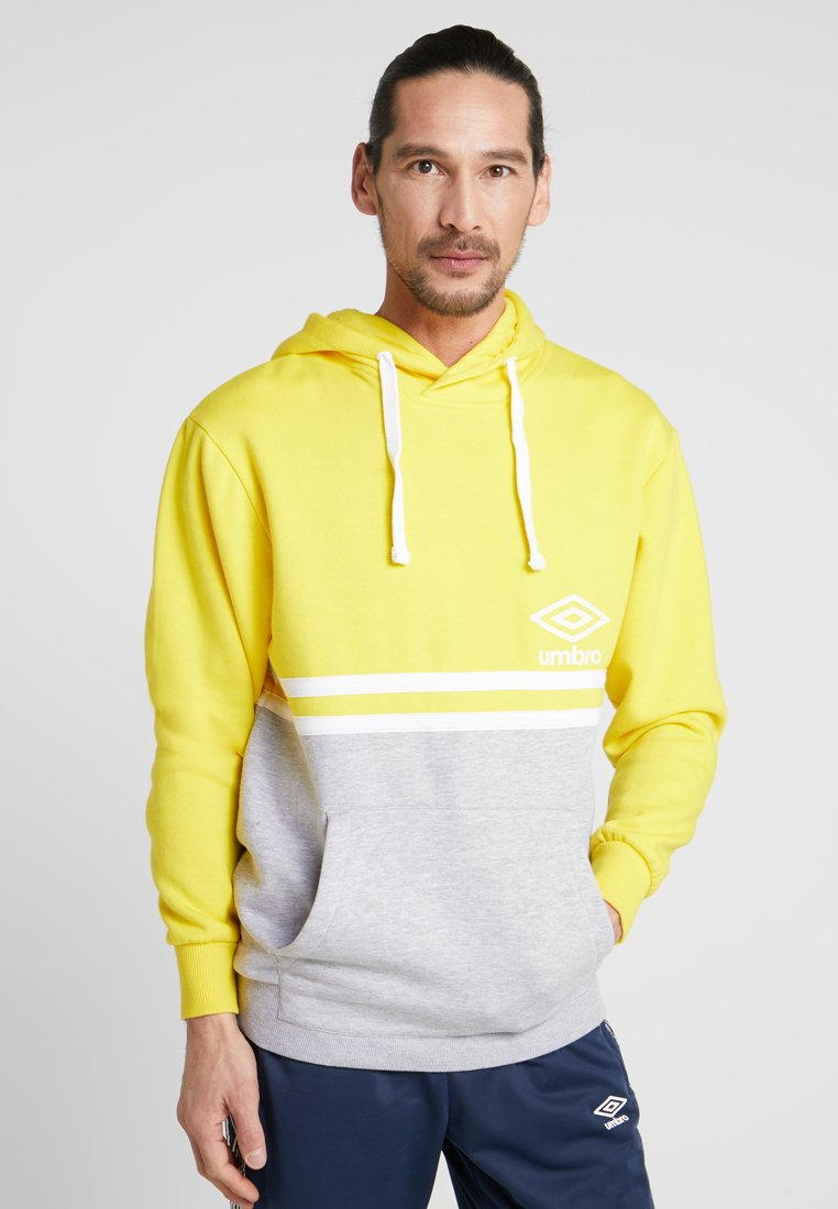 Umbro - BLOCK COLOUR HOODY - Felpa con cappuccio - empire yellow/brilliant white/grey marl