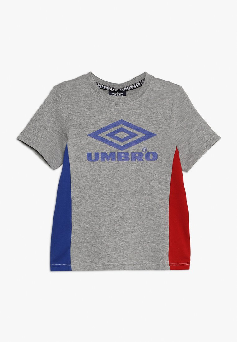 Umbro - NEO VISTA CREW TEE BOYS - T-shirt med print - grey marl/deep surf /riot red