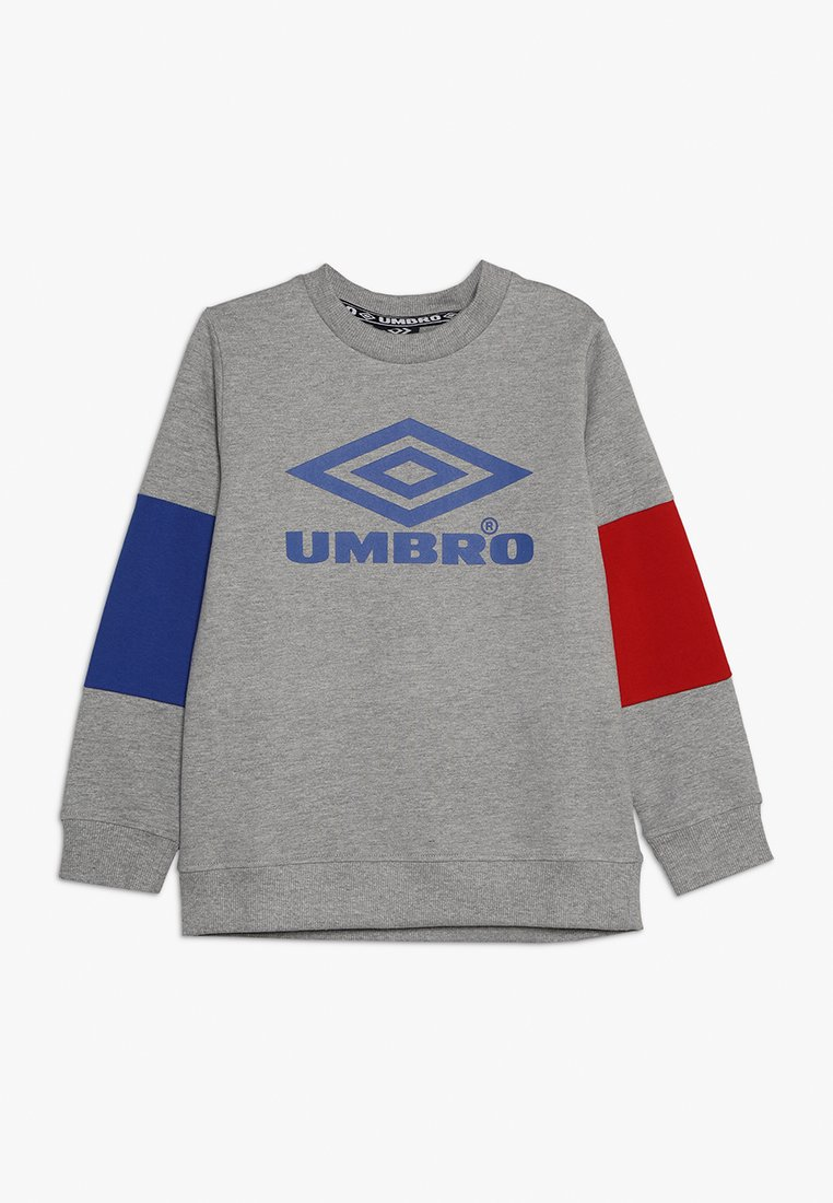 Umbro - NEO VISTA CREW BOYS - Sweatshirt - grey marl/deep surf /riot red