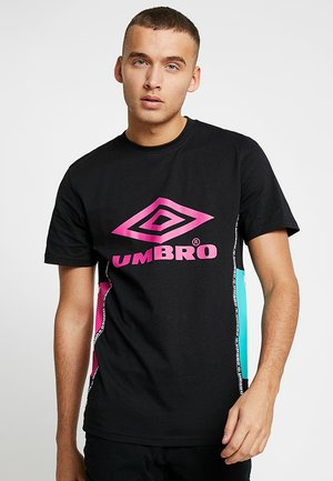 HORIZON CREW TEE - T-shirt imprimé - black/berry pink/ceramic