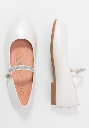 CLERVY - Ankle strap ballet pumps - bone