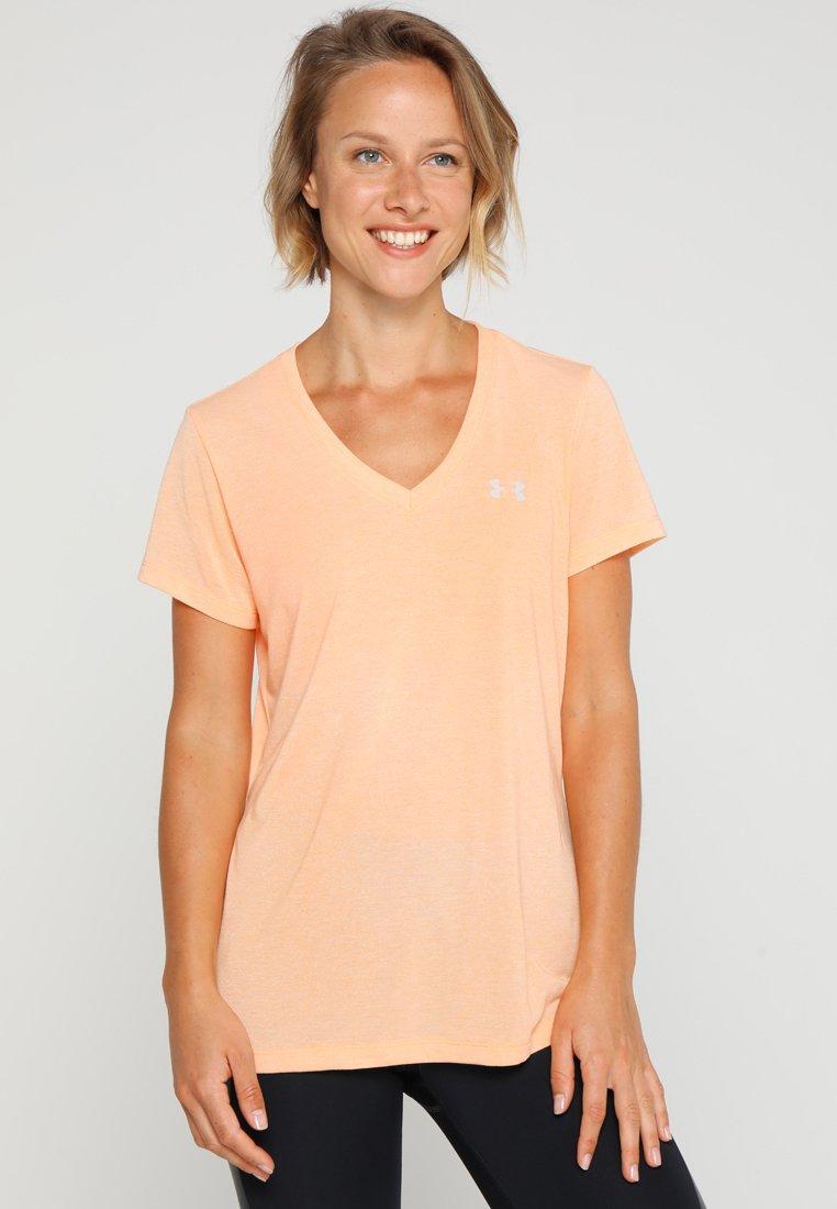 Under Armour - THREADBORNE TRAIN SSV TWIST - Basic T-shirt - peach horizon/ghost gray