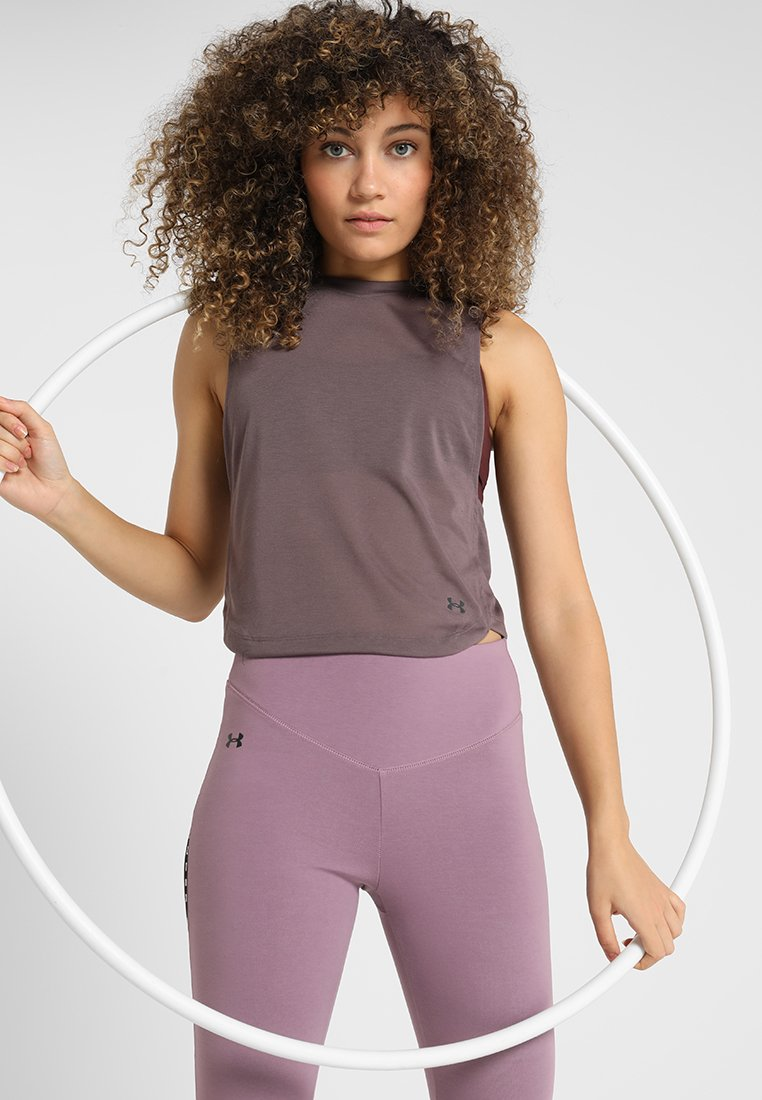 Under Armour - WHISPERLIGHT MUSCLE TANK - Sportshirt - ash taupe/impulse pink