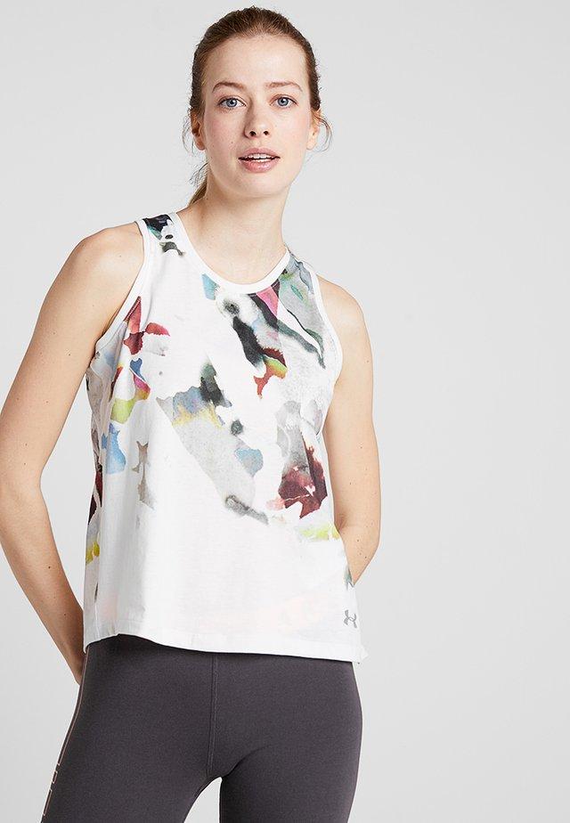 RUN TIE BACK TANK - T-shirt de sport - onyx white