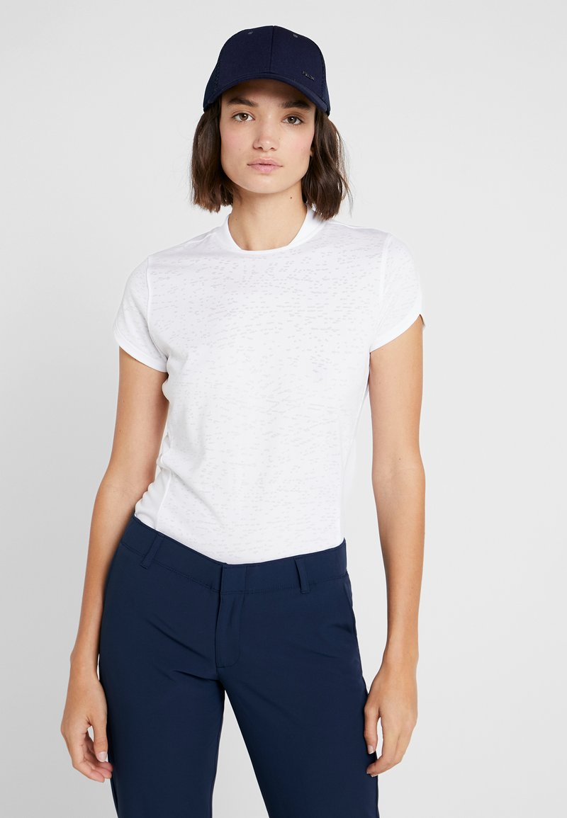 Under Armour - TOUR TIPS  - T-shirt con stampa - white/mod gray