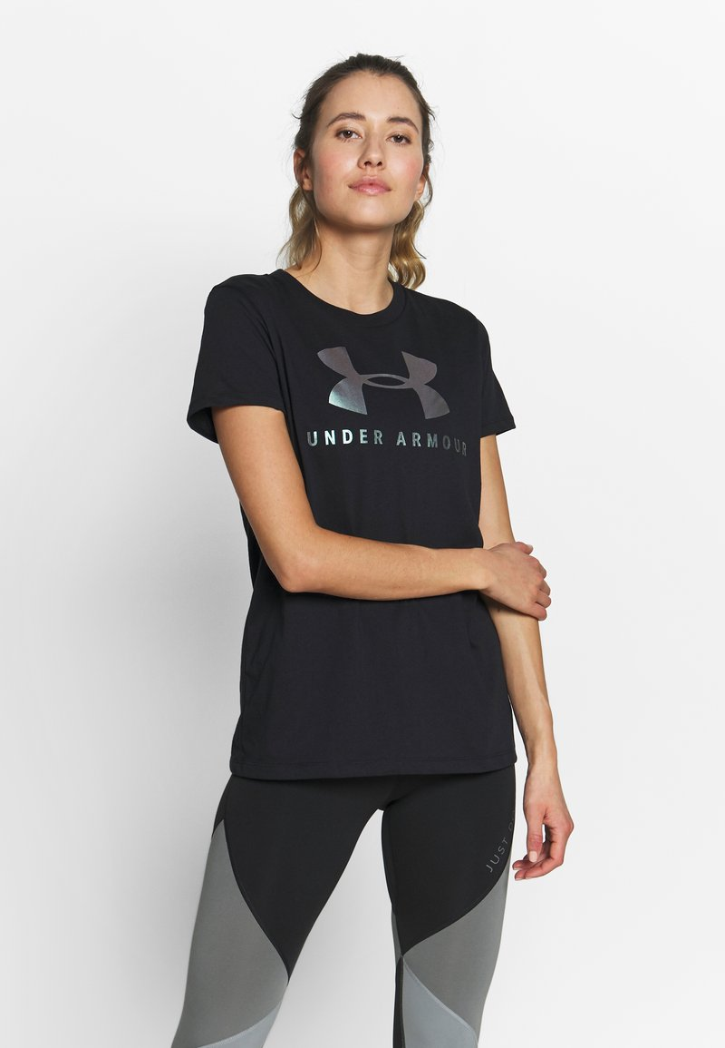Under Armour - GRAPHIC SPORTSTYLE CLASSIC CREW - T-shirts med print - black/iridescent