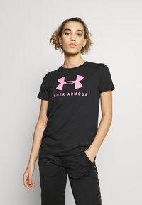 Under Armour - GRAPHIC SPORTSTYLE CLASSIC CREW - Print T-shirt - black/lipstick - 0