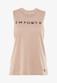Under Armour - GRAPHIC EMPOWER MUSCLE TANK - Koszulka sportowa - blush beige medium heather/black - 5