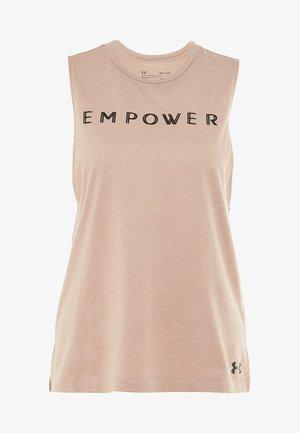 GRAPHIC EMPOWER MUSCLE TANK - Sportshirt - blush beige medium heather/black
