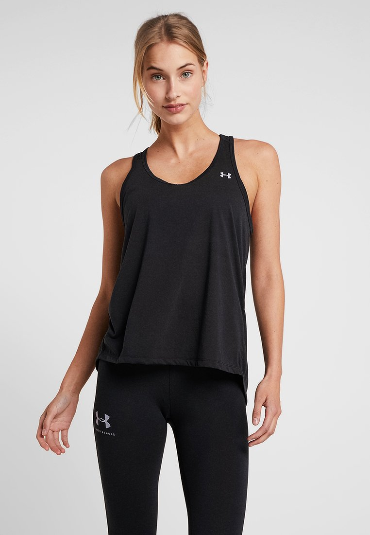 Under Armour - WHISPERLIGHT TIE BACK TANK - Top - black/metallic silver