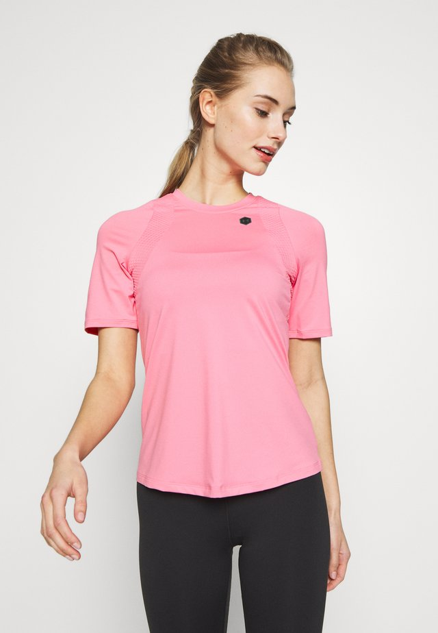UA RUSH SS - T-shirt con stampa - lipstick/black