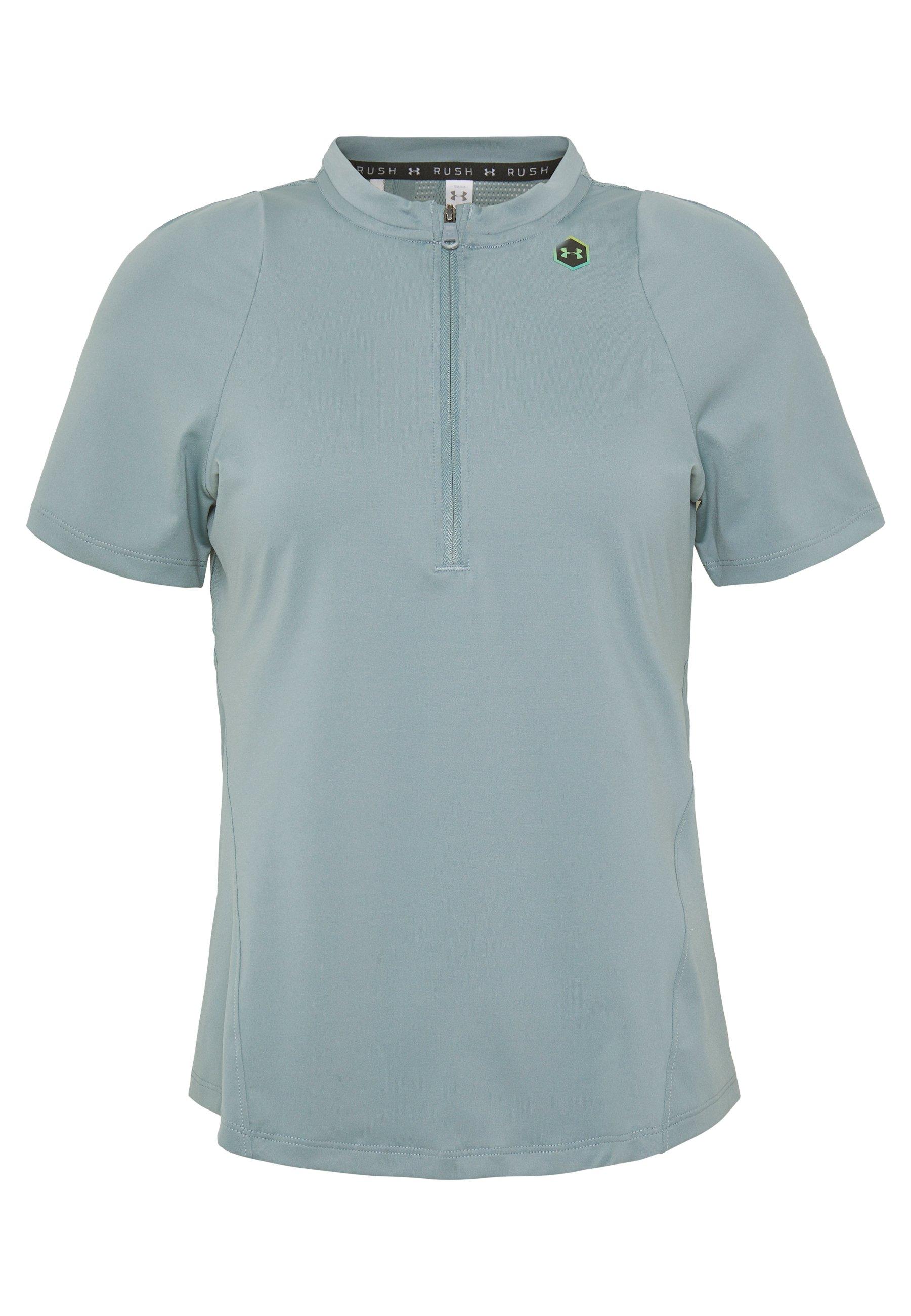 Under Armour RUSH VENT - T-shirt z nadrukiem - hushed turquoise/black