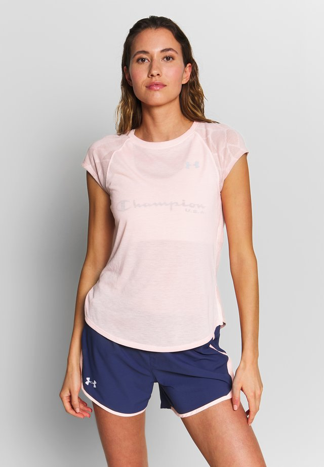 STREAKER SHIFT SHORT SLEEVE - T-shirt z nadrukiem - peach frost/calla