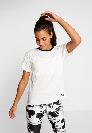 UA CHARGED COTTON SS - T-shirt print - onyx white/black