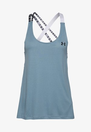 UA HG ARMOUR WM DOUBLE STRAP TANK - Treningsskjorter - hushed turquoise/halo gray/black
