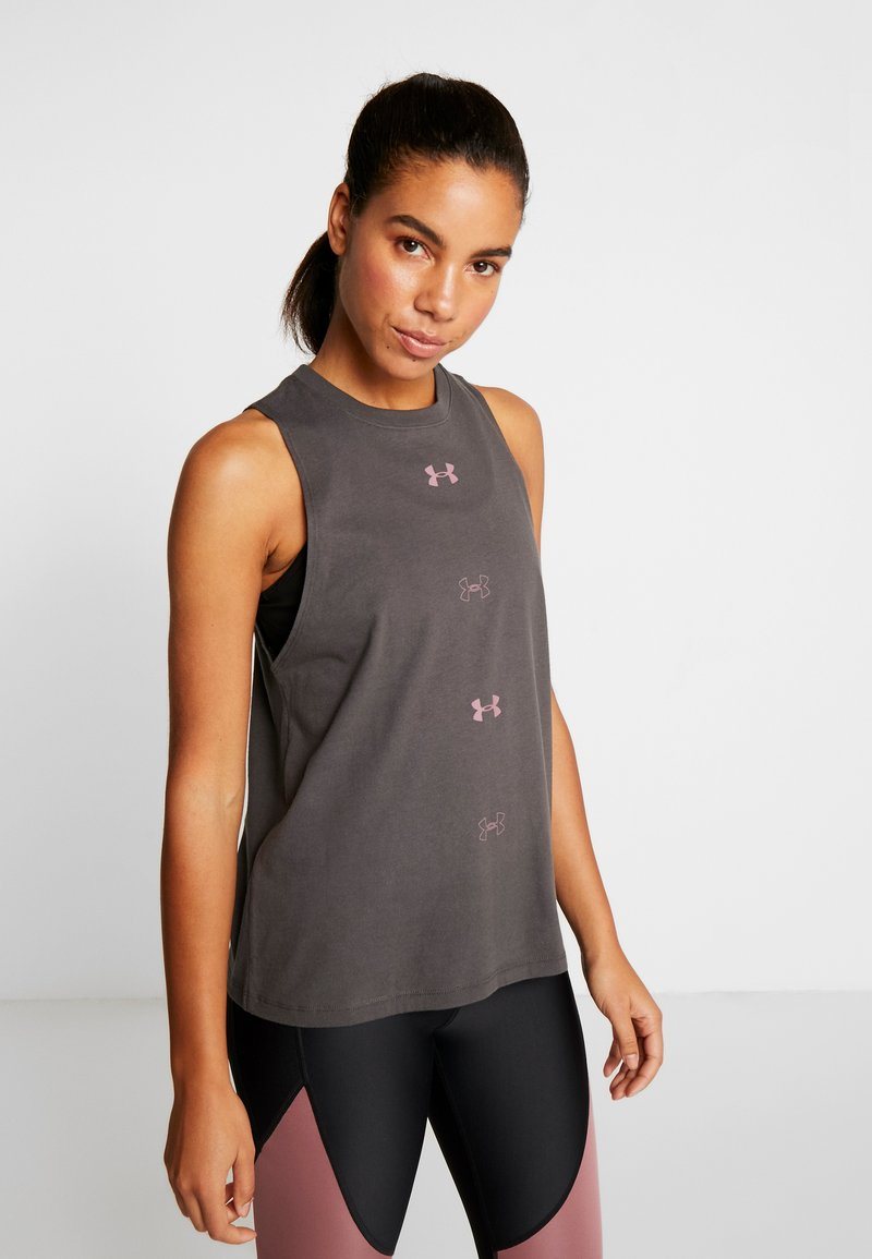 Under Armour - GRAPHIC MUSCLE  - Sports shirt - jet gray /hushed pink
