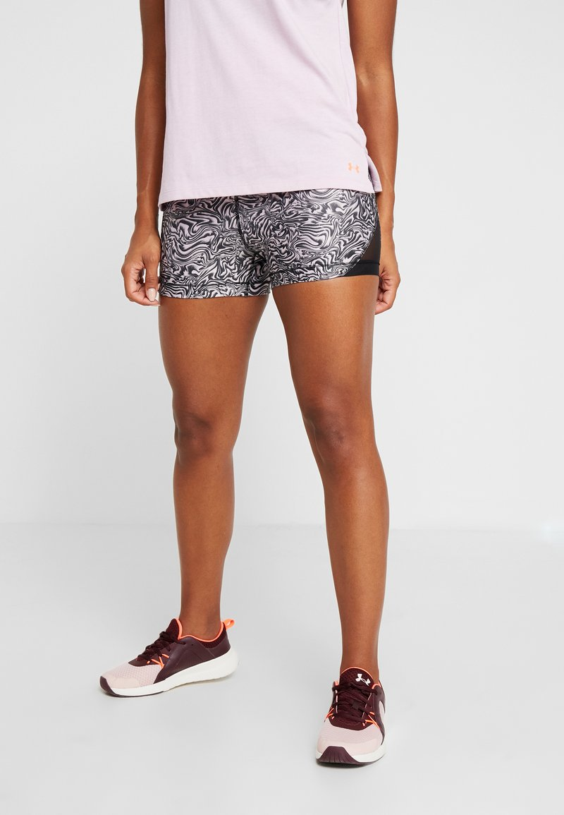 Under Armour - SHORTY PRINT - Tights - pink fog/black/metallic silver