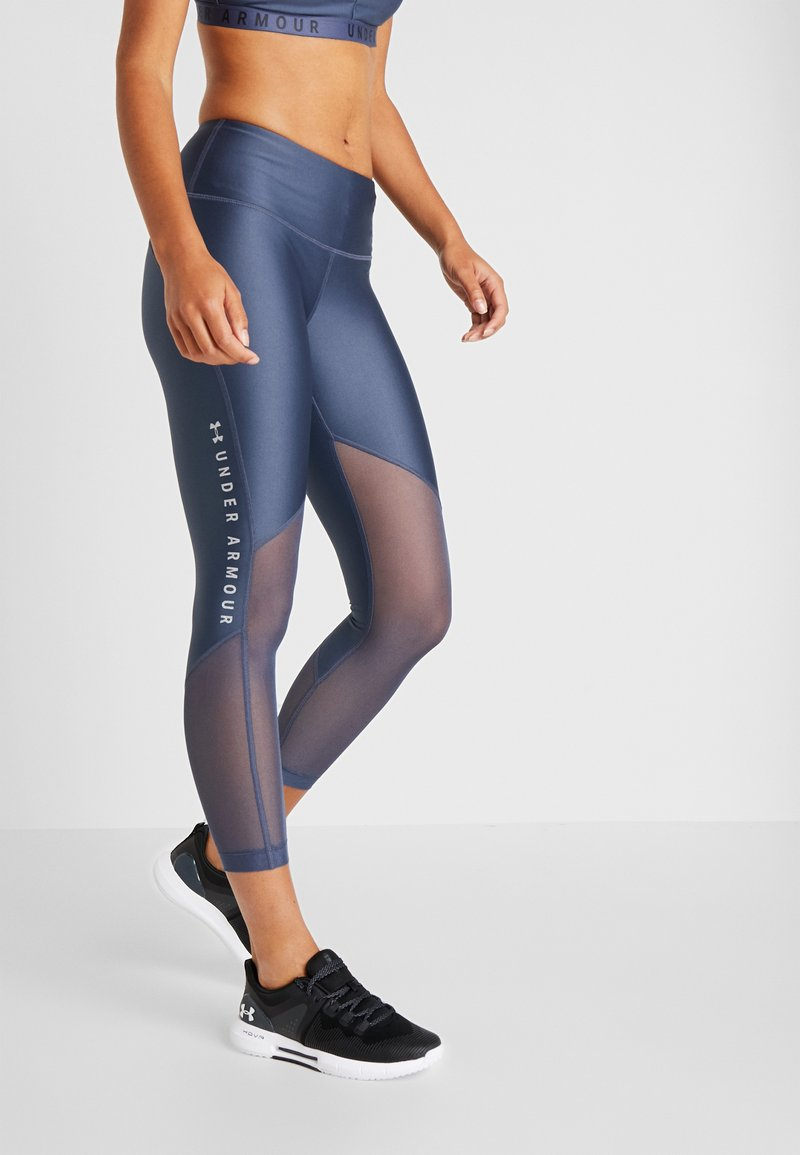 Under Armour - ANKLE CROP GRAPHIC - Tights - downpour gray/metallic silver