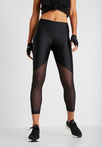 Under Armour - ANKLE CROP GRAPHIC - Legginsy - black/metallic silver - 0