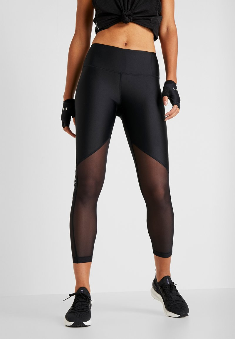 Under Armour - ANKLE CROP GRAPHIC - Legginsy - black/metallic silver