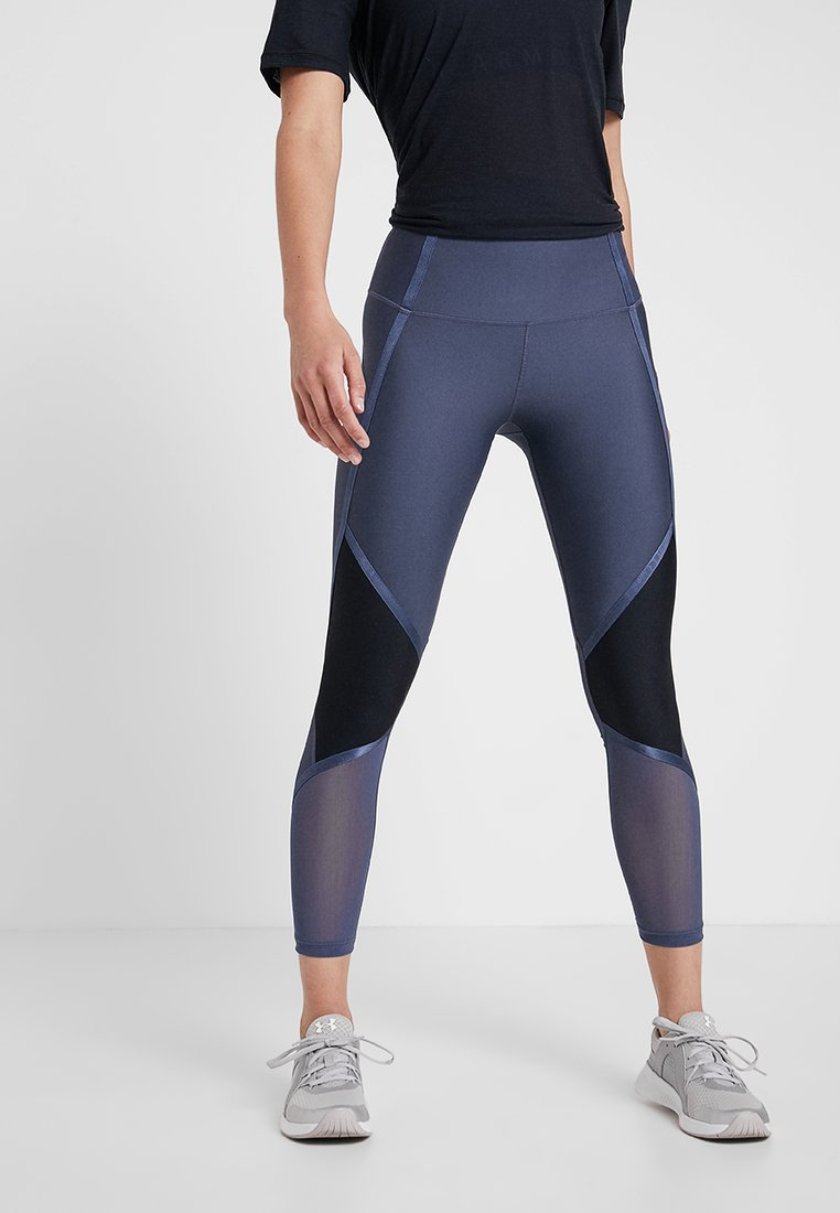 Under Armour - SHINE ANKLE CROP - Tights - downpour gray/metallic silver
