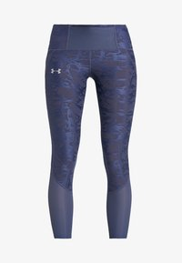 Under Armour - QUALIFIER SPEEDPOCKET SMUDGED CROP - Tights - downpour gray/reflective - 7