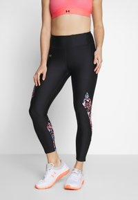 Under Armour - UA HG ARMOUR PRINTED PANEL ANKLE CROP - Legginsy - black/beta/metallic silver - 0