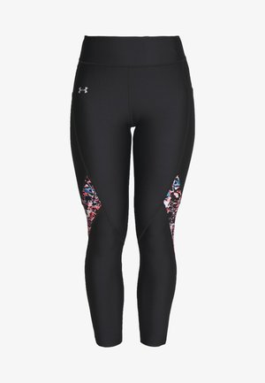 UA HG ARMOUR PRINTED PANEL ANKLE CROP - Legging - black/beta/metallic silver