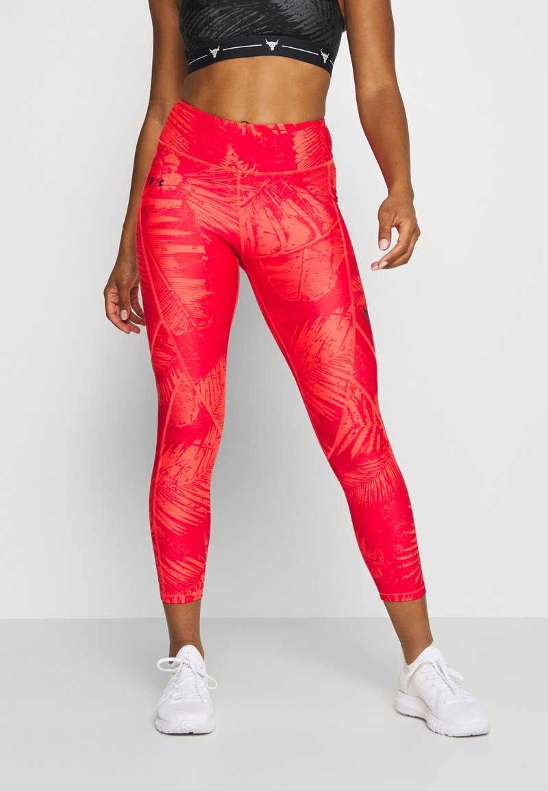 Under Armour - PROJECT ROCK PRINTED ANKLE CROP - Leggings - rush red/black