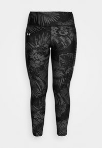 Under Armour - PROJECT ROCK PRINTED ANKLE CROP - Legginsy - black/summit white - 3