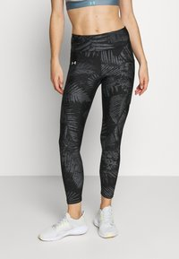 Under Armour - PROJECT ROCK PRINTED ANKLE CROP - Legginsy - black/summit white - 0