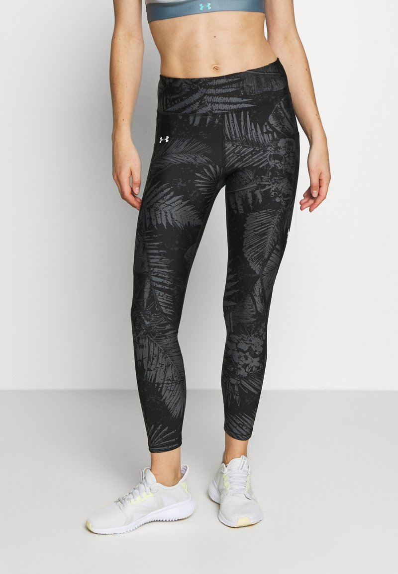 Under Armour - PROJECT ROCK PRINTED ANKLE CROP - Legginsy - black/summit white