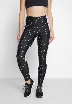 CONTRAST PRINTED LEGGINGS - Tights - black/white/metallic silver