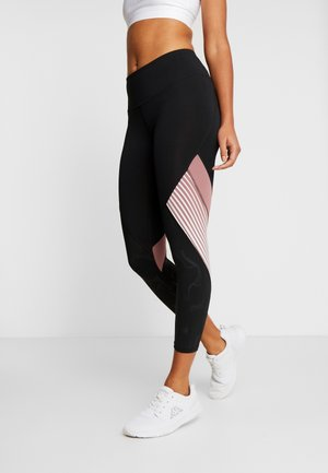 RUSH EMBOSSED SHINE GRAPHIC CROP - Legginsy - black/hushed pink