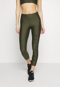 Under Armour - PROJECT ROCK WARRIOR CROP - Legginsy - guardian green/black - 0