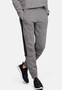 Under Armour - RIVAL TERRY  - Tracksuit bottoms - dark grey/black - 0