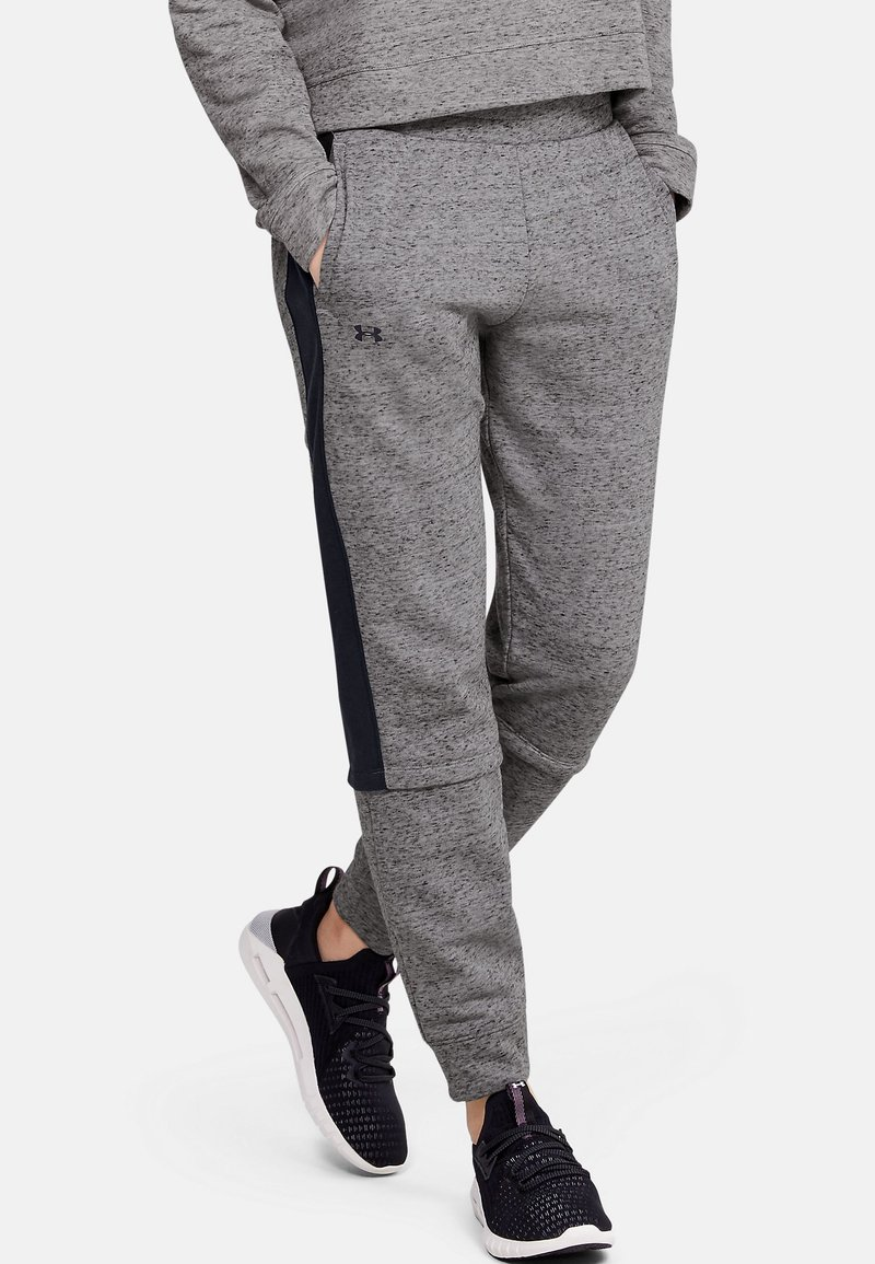 Under Armour - RIVAL TERRY  - Tracksuit bottoms - dark grey/black