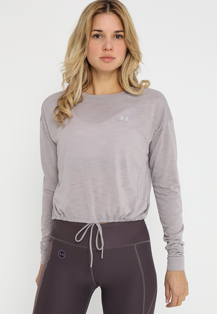 Under Armour - WHISPERLIGHT CROPPED COVER UP - Funktionsshirt - tetra gray/tetra gray/tonal