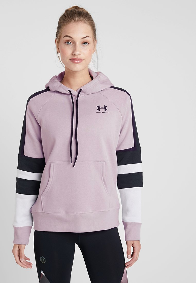 Under Armour - RIVAL LOGO HOODIE NOVELTY - Jersey con capucha - pink fog/black