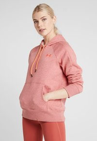Under Armour - RIVAL LOGO HOODIE NOVELTY - Jersey con capucha - fractal pink medium heather/peach plasma - 0
