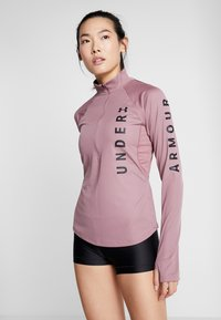 Under Armour - SPEED STRIDE SPLIT WORDMARK HALF ZIP - Tekninen urheilupaita - hushed pink/black - 0
