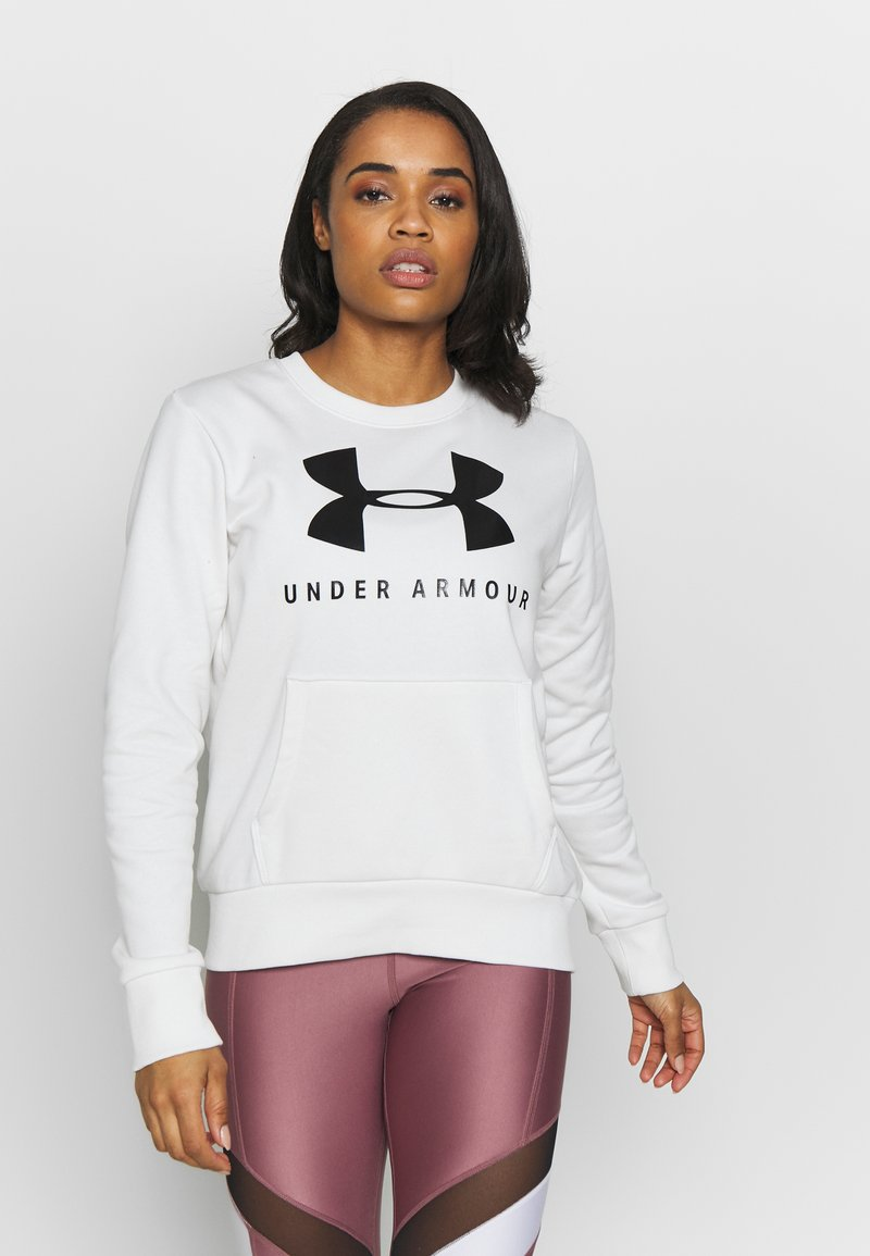 Under Armour - RIVAL FLEECE SPORTSTYLE GRAPHIC CREW - Sweater - onyx white/black