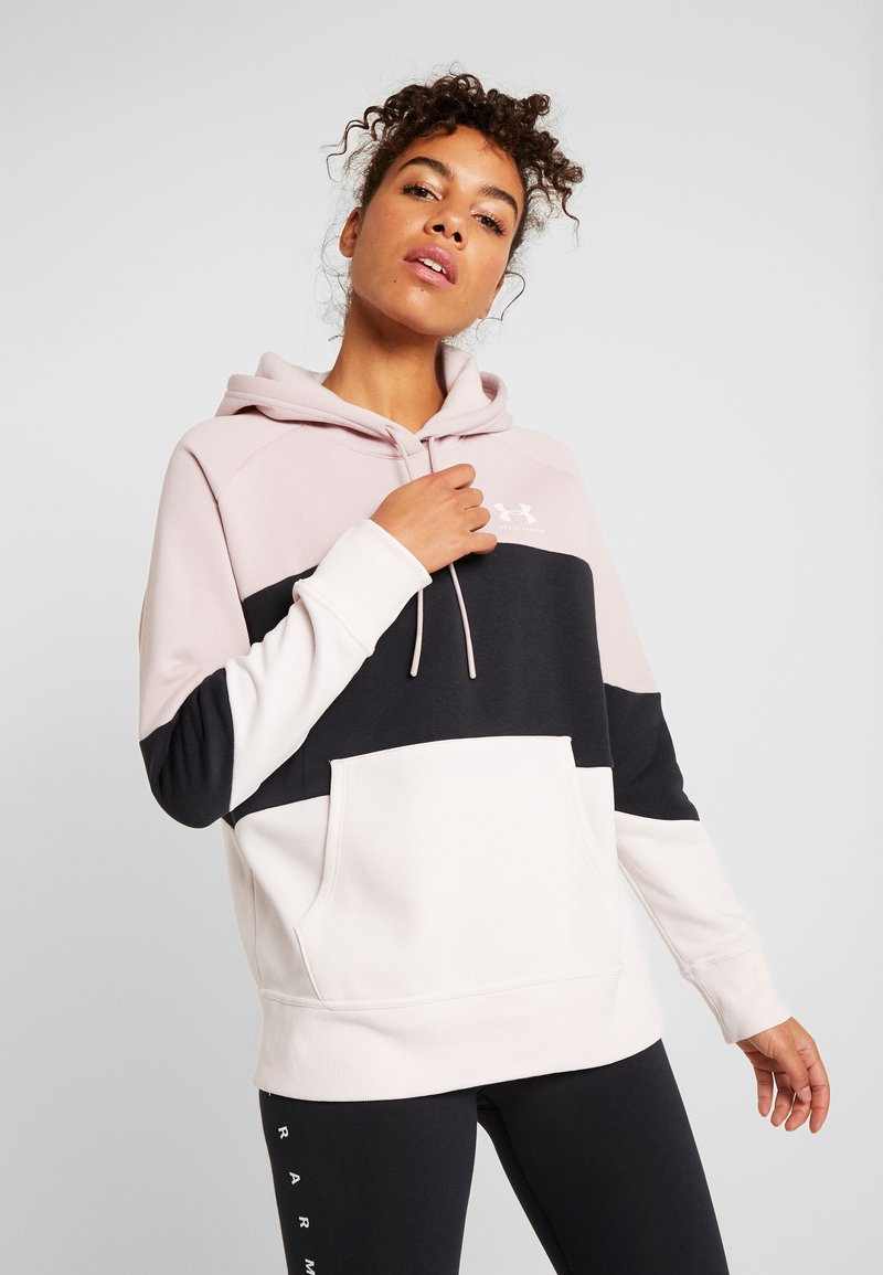 Under Armour - RIVAL FLEECE COLOR BLOCK HOODIE - Mikina skapucí - dash pink/black/french gray